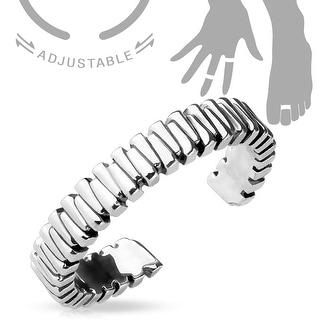 Grooved Design Adjustable Toe Ring/Mid Ring (Sold Ind.)