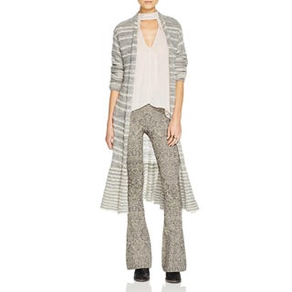 Free People Womens Cardigan Sweater Duster Striped Gray L