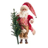"21"" Peppermint Red Burlap Santa Claus with Tree Table Top Christmas Decoration"
