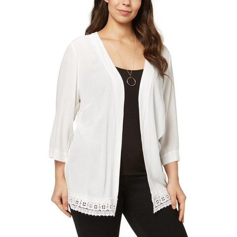 NY Collection Womens Plus Cardigan Top Lace Trim Open Front