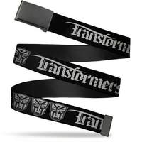 Blank Black  Buckle Transformers Old English Autobot Black Gray Web Belt