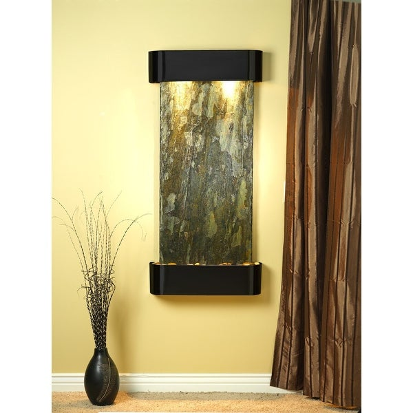 Adagio Cascade Springs Fountain w/ Green Natural Slate in Blackened Copper Finis