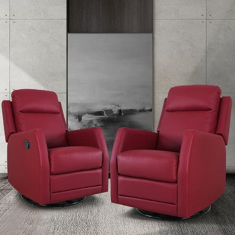 Donat Swivel Recliner with Tufted Back Set of 2