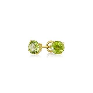 Bling Jewelry Round Peridot August Birthstone Gemstone Baby Screwback Stud earrings 14k Gold 4mm - Green
