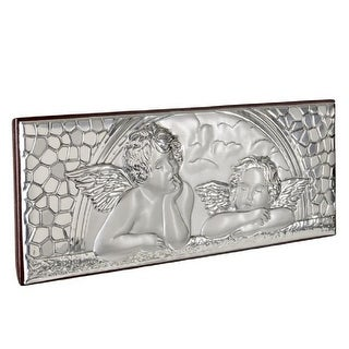 """Italian Sterling Silver Guardian Angels and Child Icon, Christian Plaque - 7.5"""" x 2"""" x 3"""" inches"""