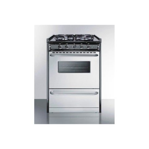 Summit TTM61027BRSW 24 Inch Wide 2.9 Cu. Ft. Slide In Natural Gas Range with Sea - Stainless Steel - N/A