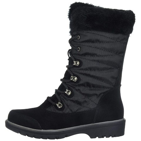Bare Traps Womens Satin Leather Round Toe Mid-Calf Cold Weather Boots