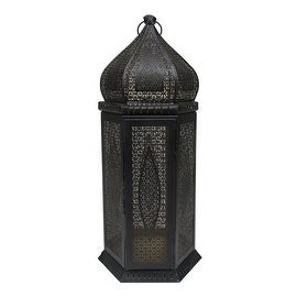 """21.25"""" Black and Gold Middle Eastern Style Cut-Out Pillar Candle Lantern"""