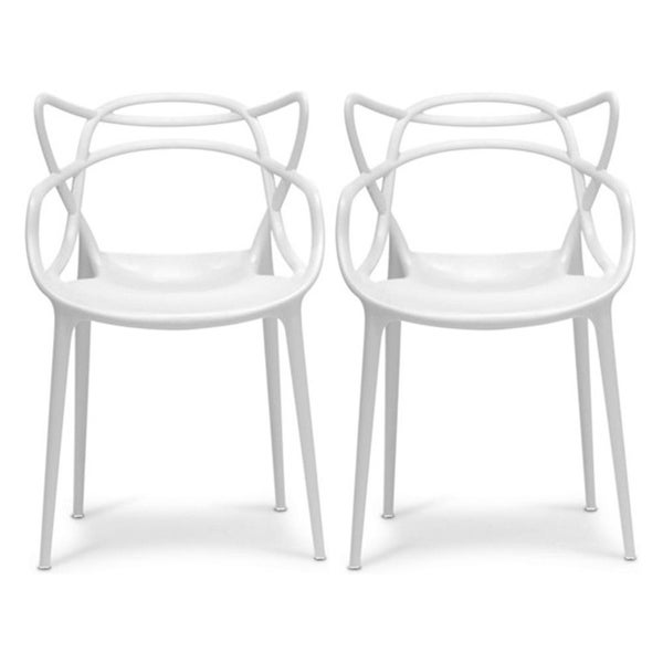 Modern Stackable Geometric Molded Dining Armchairs (Set of 2). Opens flyout.