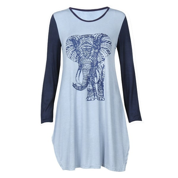 73e403a2ac3 Shop Kathmandu Imports Women s Blue Elephant Tunic Top - Long Sleeve Scoop Neck  Shirt - On Sale - Free Shipping On Orders Over  45 - Overstock - 26484069
