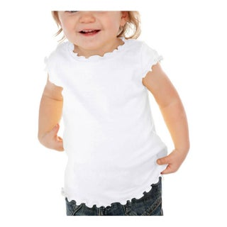 Kavio! Infants Lettuce Edge Scoop Neck Cap Sleeve Top (4 options available)