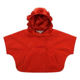 Richie House Girls Orange Rosette Accent Hood Coat 8