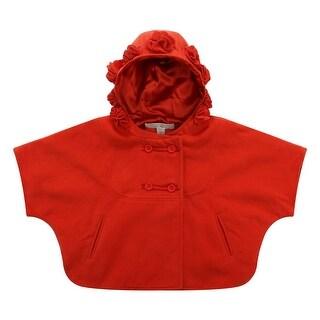 Richie House Little Girls Orange Rosette Accent Hood Coat 3-6