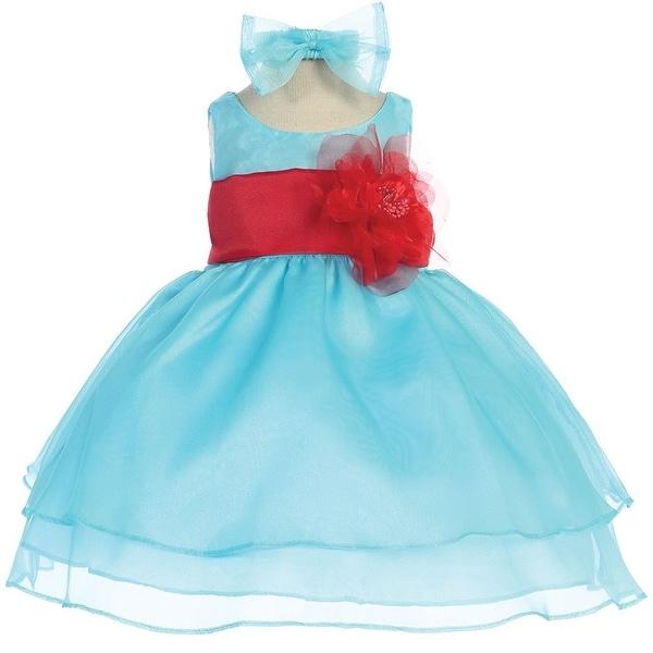 Baby Girls Aqua Red Sash Organza Flower Girl Dress 6-24M