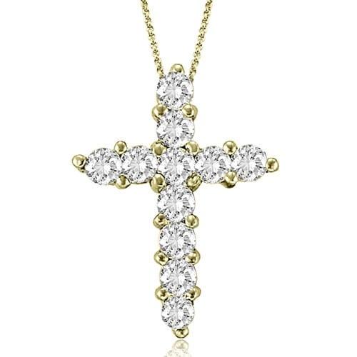 2.00 cttw. 14K Yellow Gold Round Cut Diamond Big Cross Pendant