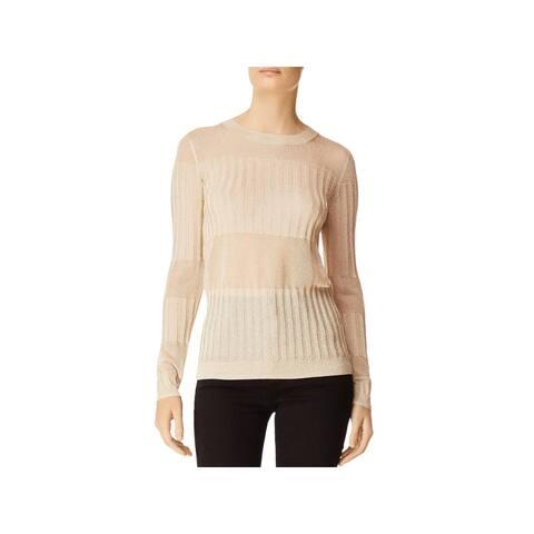 J Brand Womens Pullover Sweater Metallic Mixed Knit - Metallic Gold - S