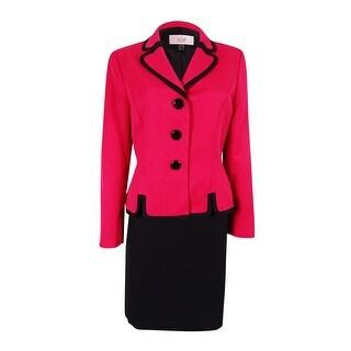 Le Suit Women's Cannes Three-Button Skirt Suit - azalea/black