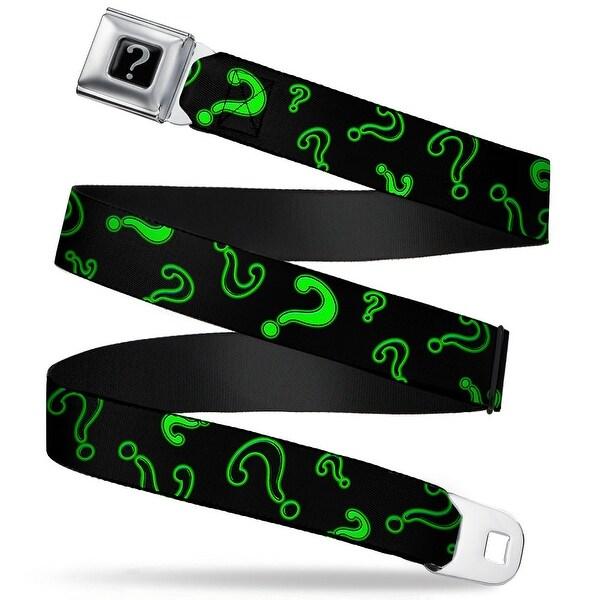 """Riddler """"?"""" Black Silver Question Mark Scattered2 Black Neon Green Webbing Seatbelt Belt"""