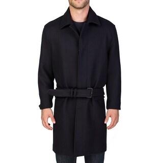 Prada Men's Virgin Wool Trench Coat Jacket Navy Blue