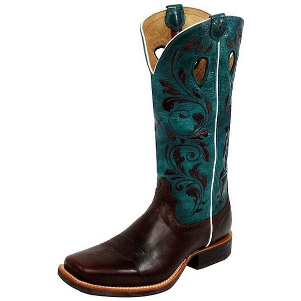 Twisted X Western Boots Womens Ruff Stock Chocolate Turq