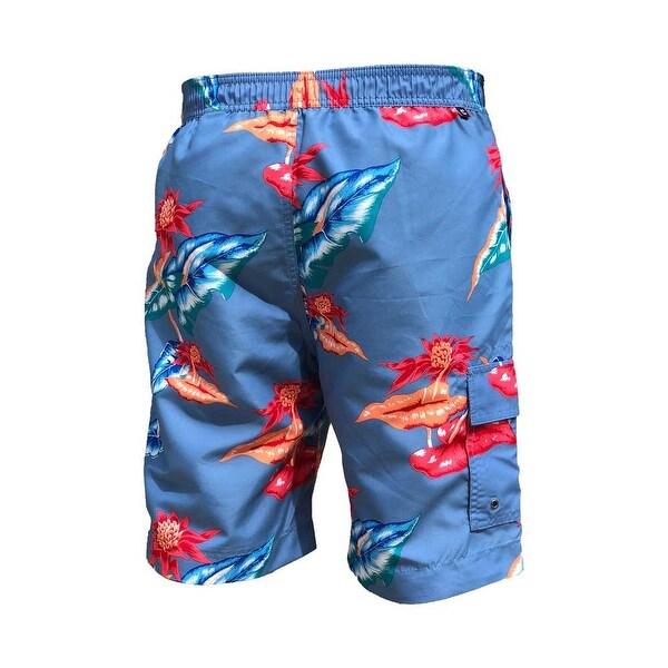 Mens Abstract Blue Circle Summer Pringting Quick Dry Board Shorts Bathing Suits Beach Shorts