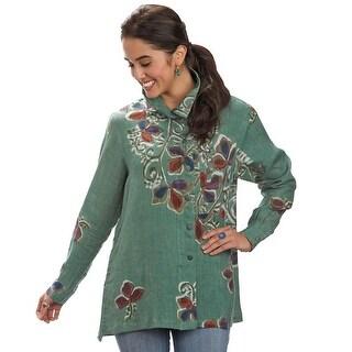 Women's Matiz Batik Green Linen Tunic Jacket
