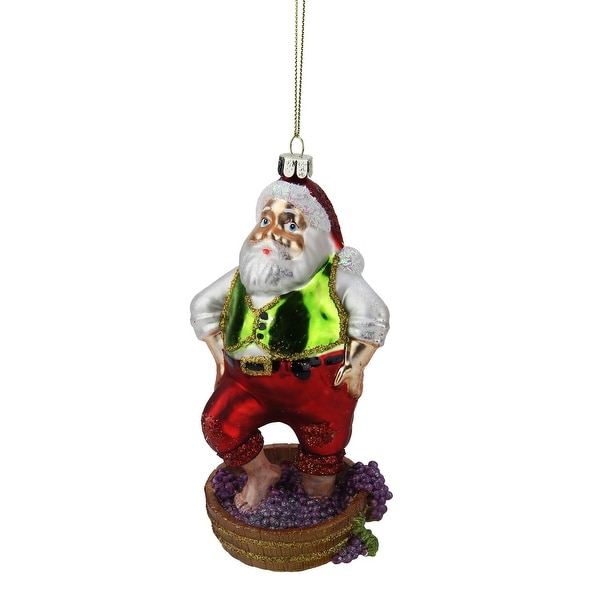 "6"" Tuscan Winery Santa Claus Stomping Grapes Glass Christmas Ornament - multi"