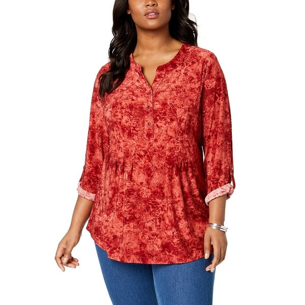 NY Collection Red Women's Size 1X Plus Pleated Printed Blouse