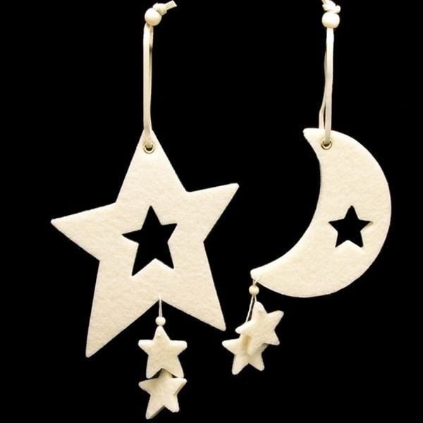 Club Pack of 18 Ivory Colored Large Moon & Star Felt Ornaments - WHITE
