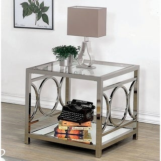 Link to Silver Orchid Pehrson Glass Top Metal End Table Similar Items in Living Room Furniture