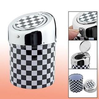 Cigarette Column Shape Black White Checker Ashtray
