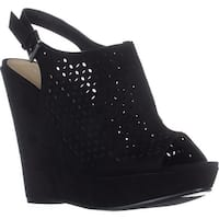 Chinese Laundry Monique Peep Toe Wedge Sandals, Black