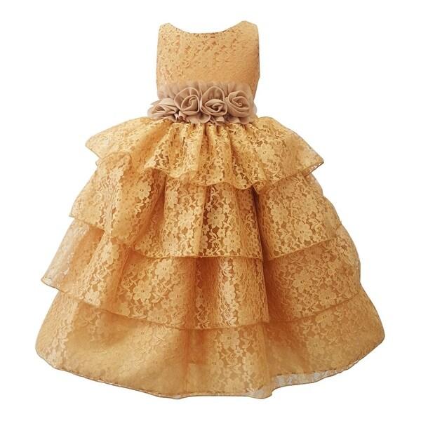 f9be1c620d9 Little Girls Gold Floral Belt Lace Tiered Sleeveless Flower Girl Dress