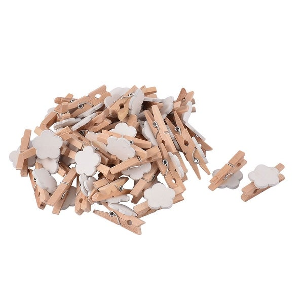 Home Card Photo Flower Shape Clothespins Pegs Mini Wooden Clip White 50pcs