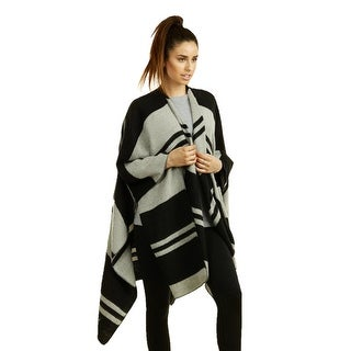 Mechaly Black and Grey Stripped Ladies Open Front Poncho