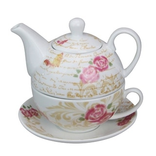 3-Piece Stackable White and Pink Ceramic Tea Set