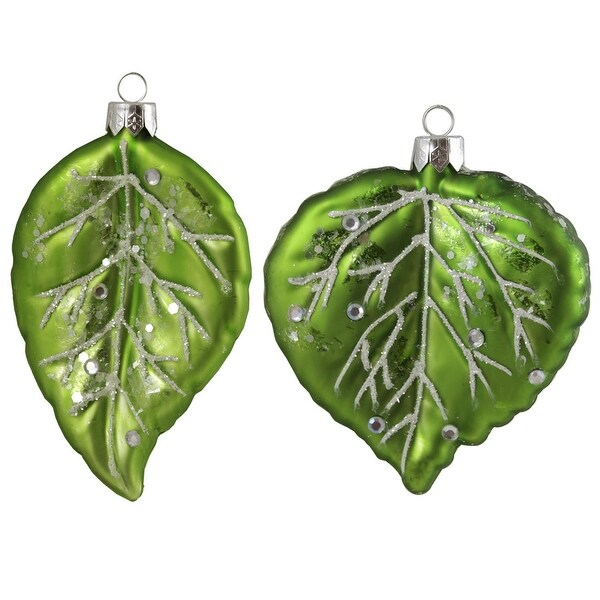 Set of 2 Enchanted Forest Glittered Green Leaf Glass Christmas Ornaments