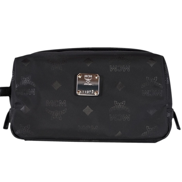 fe889d27a8c9 Shop MCM Black Nylon Dieter Monogram Logo Toiletry Cosmetic Bag Dopp ...