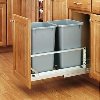 Rev-A-Shelf 5349-1527DM-2 5349 Series Bottom Mount Double Bin Trash Can with Soft Close Slides - 27 Quart Capacity per Bin