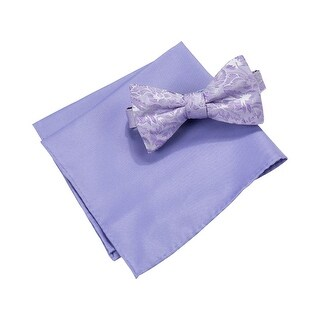 Countess Mara NEW Purple Lyons Floral Bow Tie Pocket Square Set Silk