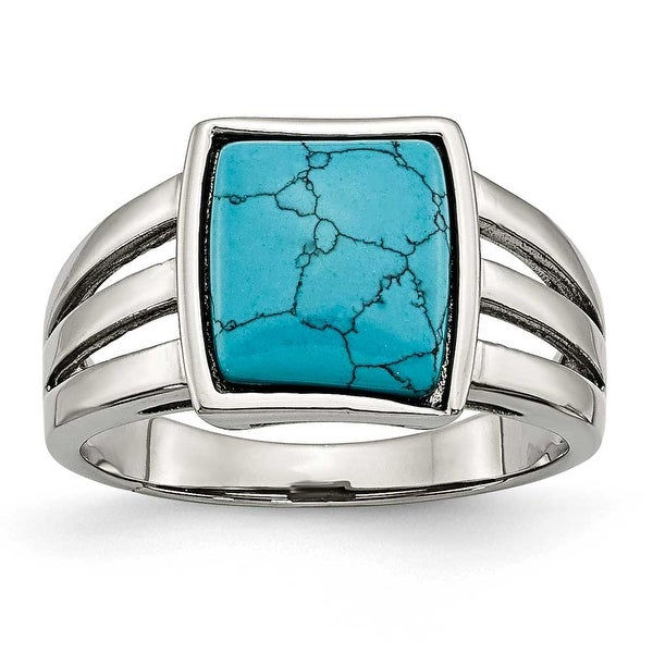 Chisel Stainless Steel Imitation Turquoise Ring (9 mm)