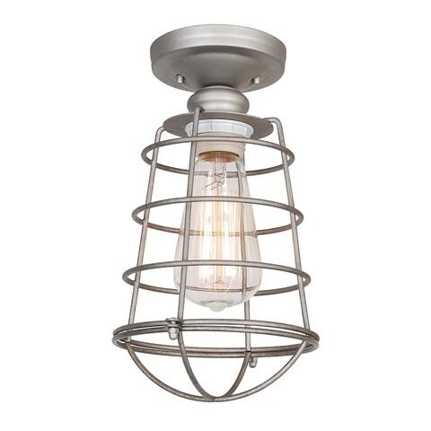 """Design House 579623 Ajax Single Light 6-3/8"""" Wide Semi-Flush Ceiling Fixture - Galvanized"""