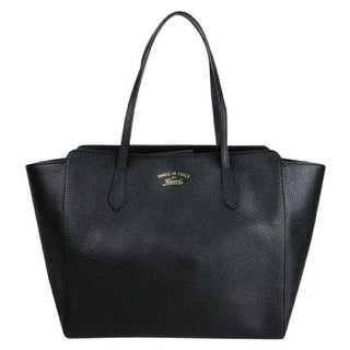 Gucci Swing Black Leather Tote Bag w/Trademark Logo