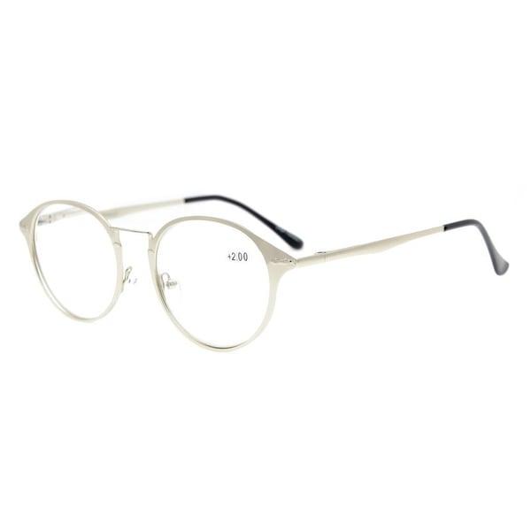 693555a7c7 Shop Eyekepper Spring Hinges Retro Round Eyeglasses Silver+0.75 ...