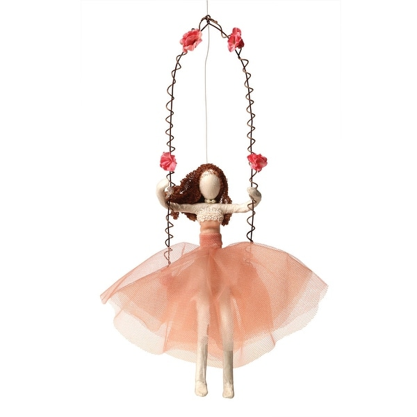 Smashup Studio Girl On Swing Recycled Decorative Hanging Sculpture - Hand Made Indoor Figurine - 6 in. x 11 in. x 2 in.