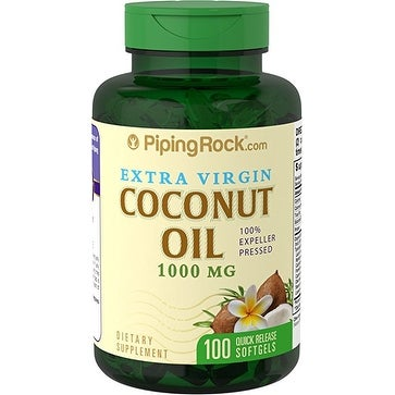 Piping Rock Coconut Oil (Extra Virgin), 1000 mg, 100 Softgels Dietary Supplement - green - 100 cap