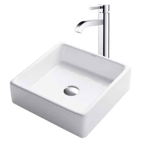 "Kraus C-KCV-120-1007 Bathroom Combo - 15"" Ceramic Vessel Bathroom Sink"