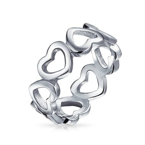 BFF Love Eternity Friendship 925 Sterling Silver Open Heart Band Ring