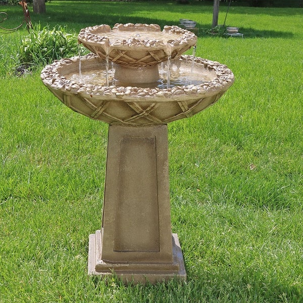 Sunnydaze Beveled Flower 2-Tier Outdoor Birdbath Garden Water Fountain - 28-Inch