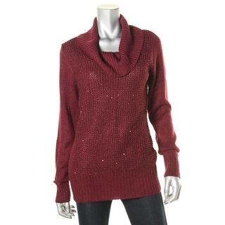 BCX Womens Metallic Mixed Knit Pullover Sweater
